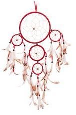 Traditional 5 Circle Dream Catcher, Red, 22