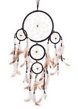 "Traditional 5 Circle Dream Catcher, Black, 22"" Long, Priced Each"