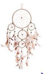 """Traditional 5 Circle Dream Catcher, Beige, 22"""" Long, Priced Each"""
