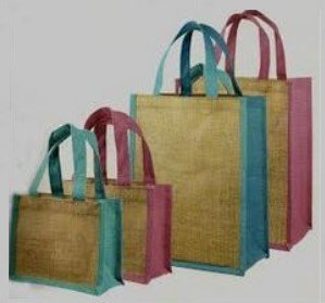 """Jute Shopping totes, 12""""W x 14""""H x 7""""D, Navy Blue Accents, Priced Each"""