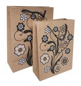 """Kraft Paper Gift Bags with Design, 7 1/2""""x 9 1/2"""", 12 Pk"""