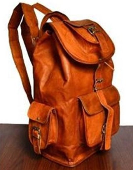 """Leather Backpack with Flap and pockets, 18"""" Tall, Priced Each"""
