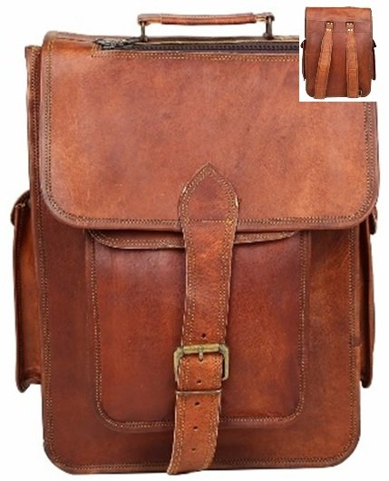 """Leather Bag, Backpack, with Flap and Buckle, 12""""x 16"""" Tall, Price Each"""