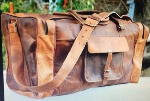 """Leather Travel Bag with strap and handle, 20"""" Long, Priced Each"""