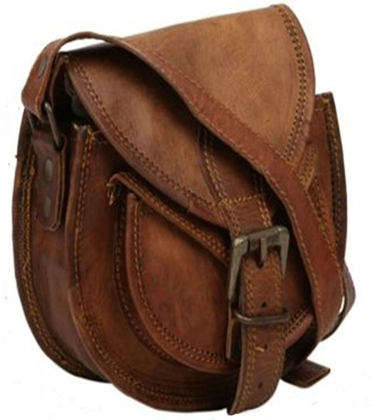 "Leather Travel Bag with Strap and Buckle Flap, 11""x 15"", Priced Each"