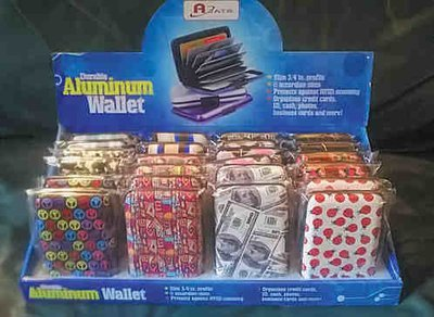 Credit Card Cases, Aluminum RFID Safe, 3 different Assotments, Priced Per 24 Asst. with Display