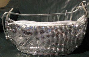 Ladies Hand Bag Faux leather with Silver Net, Priced Each