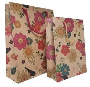"Kraft Paper Gift Bags with Flower Design, 7 1/2""x 9 1/2"", 12 Pk"