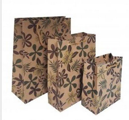 """Kraft Paper Gift Bags with Leaf Design, 7 1/2""""x 9 1/2"""", 12 Pk"""