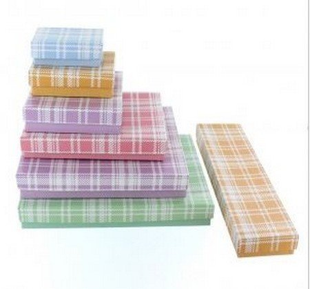 """Cotton filled Jewelry Boxes, Plaid Design, 8""""X  2"""", Priced Per 100 Pk"""