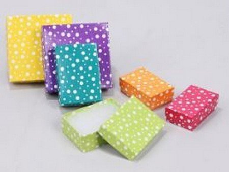 "Cotton filled Jewelry Boxes, White Polka Dot Design, 3 1/2""X  3 1/2"", Priced Per 100 Pk"