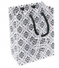 "Paper Gift Bags with Damask Desgin, 4 3/4""x 2 1/2""x 6 3/4"", 20 Pk"
