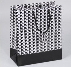 """Paper Gift bags with Houndstooth Design, 4""""x 2 3/4""""x 4 1/2"""", 20 Pk"""