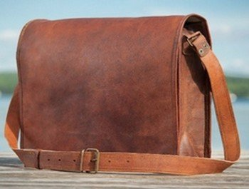 "Leather Message Bag with Strap, 10"" x 13"", Priced Each"