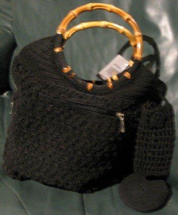 Ladies Handbag, Italian Style Black Weave with Bamboo Handle, Priced Each