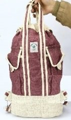 """Backpack Beach Bag, Red or Green Colored Hemp, with Handles, 13""""x 16"""",  Priced Each"""
