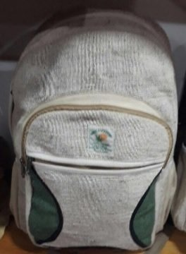 """Backpacks with Front Zipper Pocket, Natural Hemp, 10.5""""x 16"""", Priced Each"""
