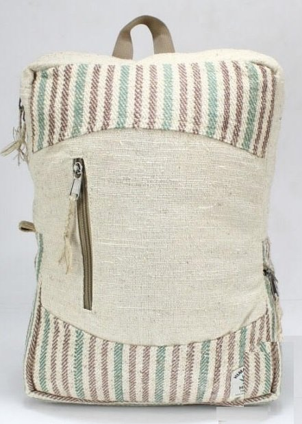 """Backpack, Natural Hemp with Front Zipper and Handle, 10.5""""x 13.5"""", Priced Each"""
