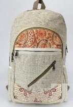 """Backpacks, Natural Hemp with Cotton Design, 10.5""""x 16"""", Priced Each"""