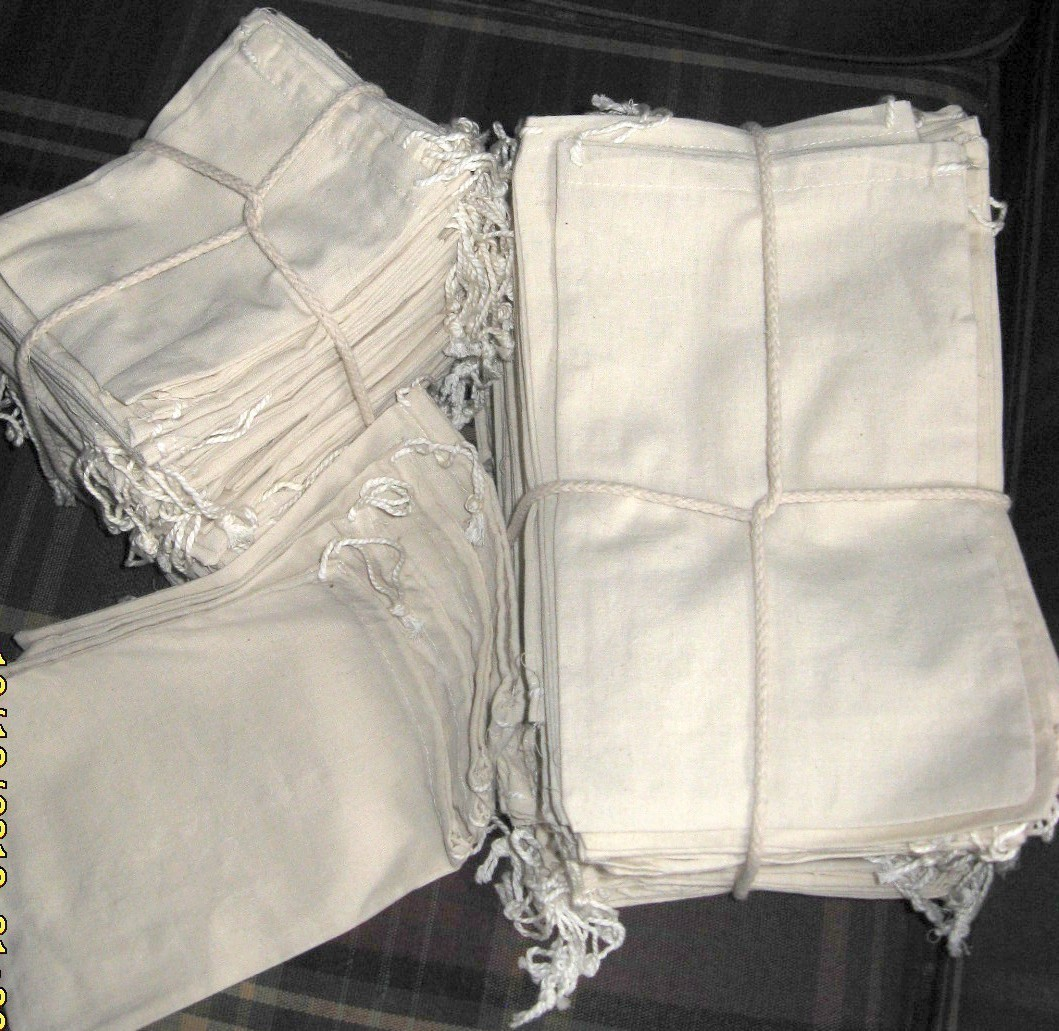 """2""""x3"""" Cotton Pouch Bags With Drawstring, 100 Pack"""