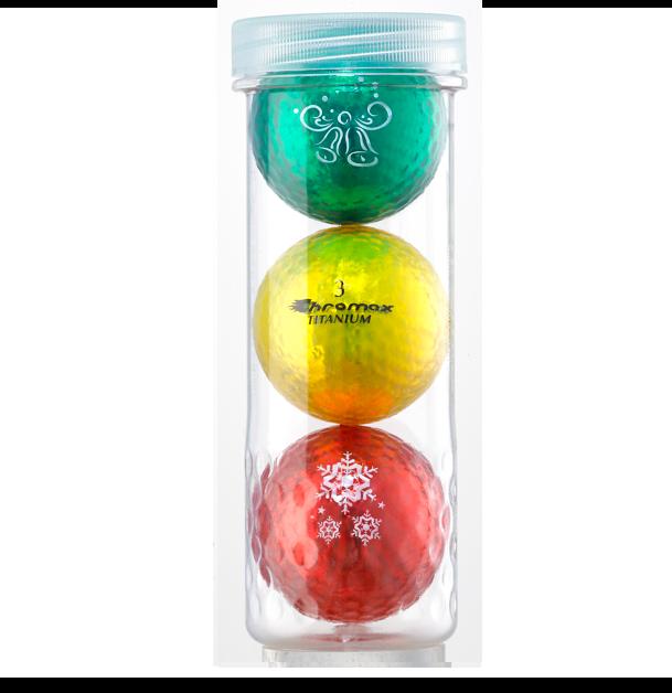 Holiday Golf Balls - Chromax M1x 3 Ball Tube (Green, Gold, Red)