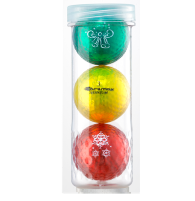 Holiday Golf Balls - Chromax M1x 3 Ball Tube (Green, Gold, Red)