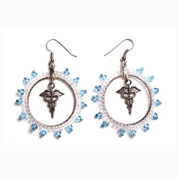 Earrings: Medical Caduceus