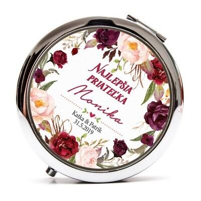 Zrkadielko pre družičku - marsala kvety