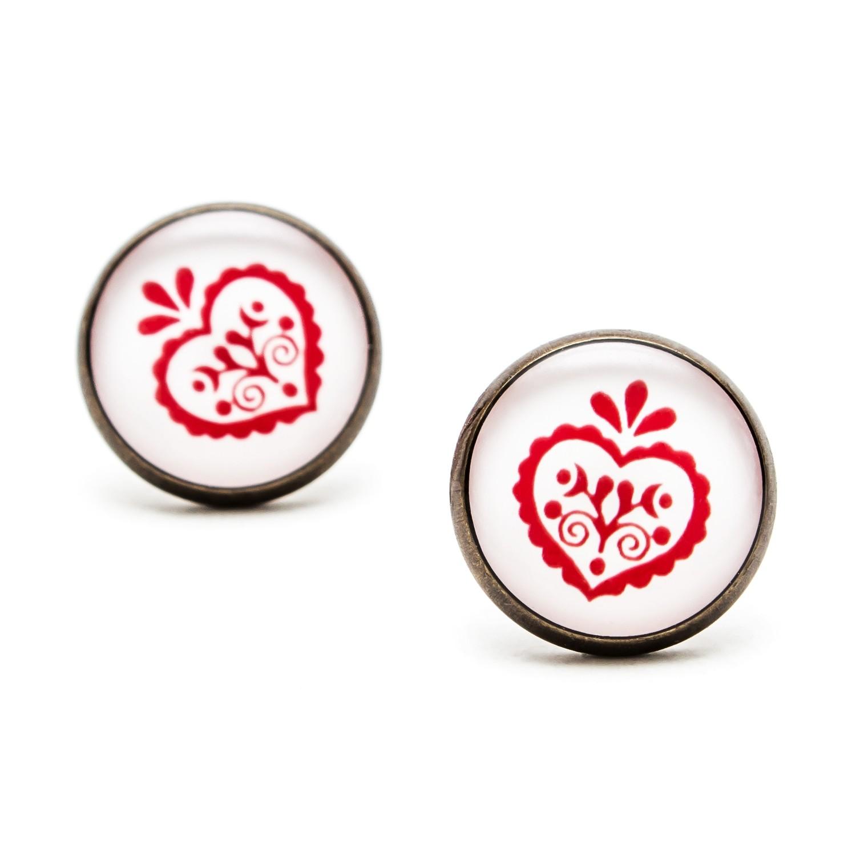 Séria Folk minimal - Srdiečko ornament červené