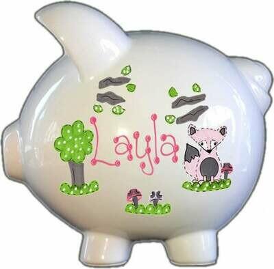 Pink Fox Piggy Bank