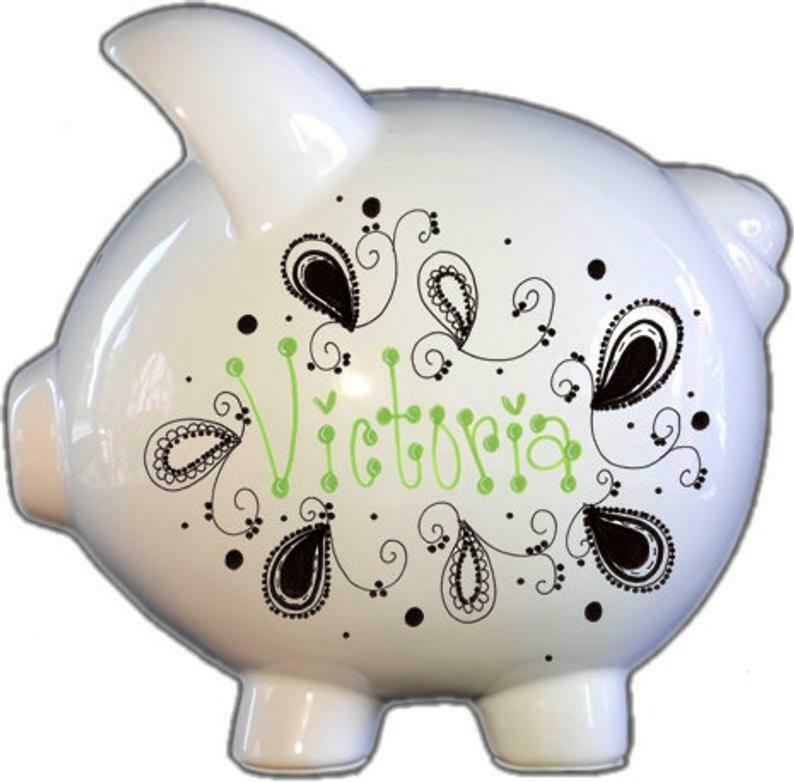 Black and White Paisley Piggy Bank