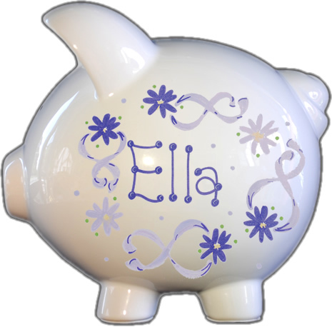 Lavender Flowers & Ribbons Design Piggy Bank