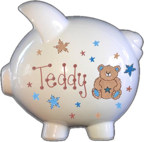 Teddy Bear & Stars Design Piggy Bank