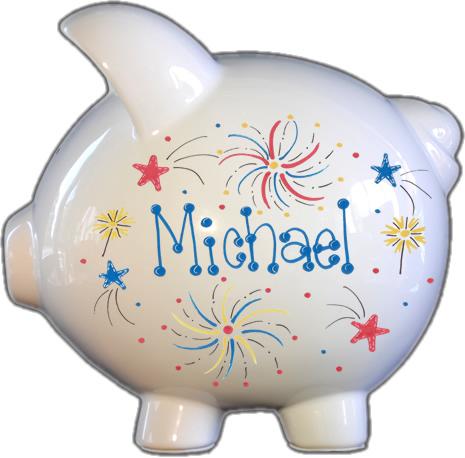 Fireworks Design Piggy Bank
