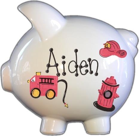 Firetruck Design Piggy Bank