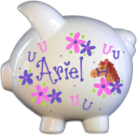 Horse Design Personalized Piggy Bank