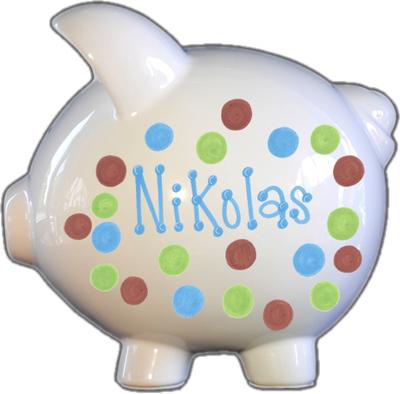 Blue, Green, & Brown Dots Design Piggy Bank