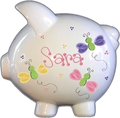 Pretty Butterflies Design Piggy Bank