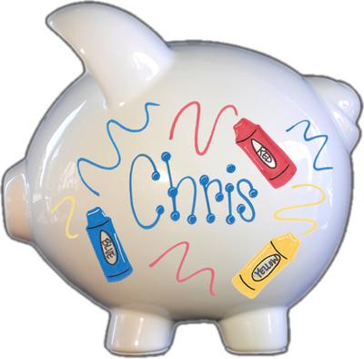 Crayons Design Piggy Bank