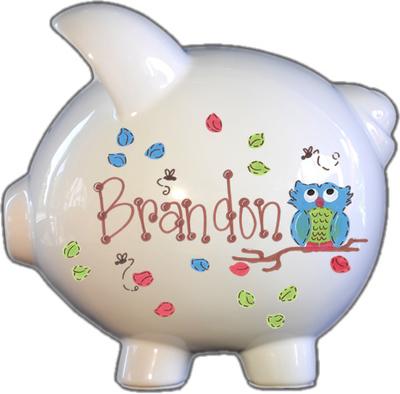 Owl Green/Blue Design Piggy Bank