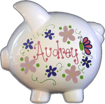 Flowers and Butterflies Pastel Design Piggy Bank