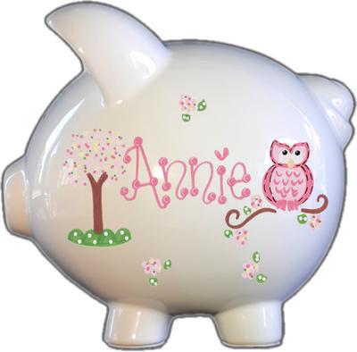 Owl Pink Design Piggy Bank
