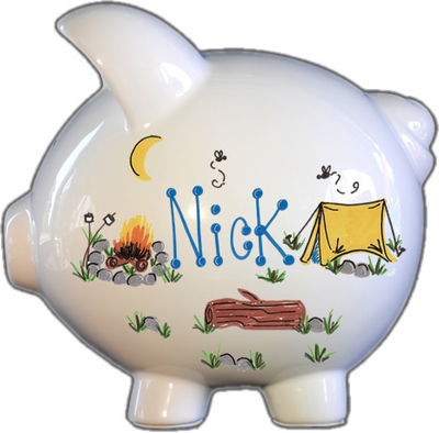 Camping Design Piggy Bank