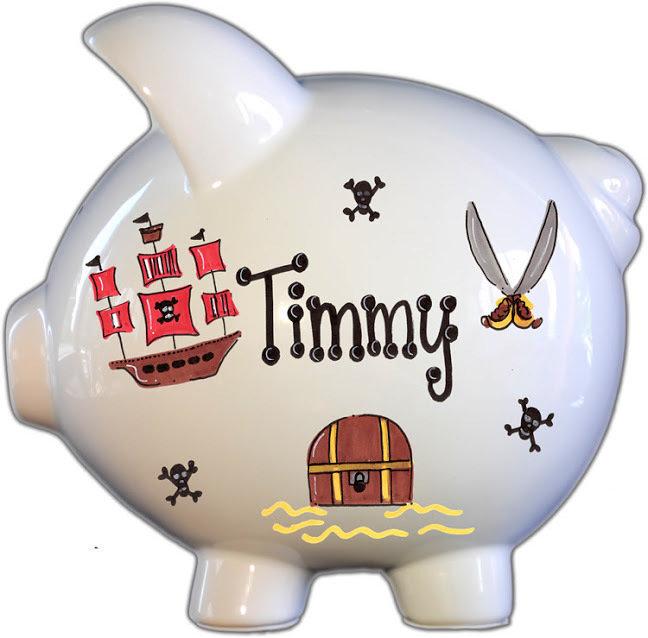 Pirate Design Personalized Piggy Bank