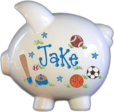 Personalized Piggy Bank with All- Star Sports