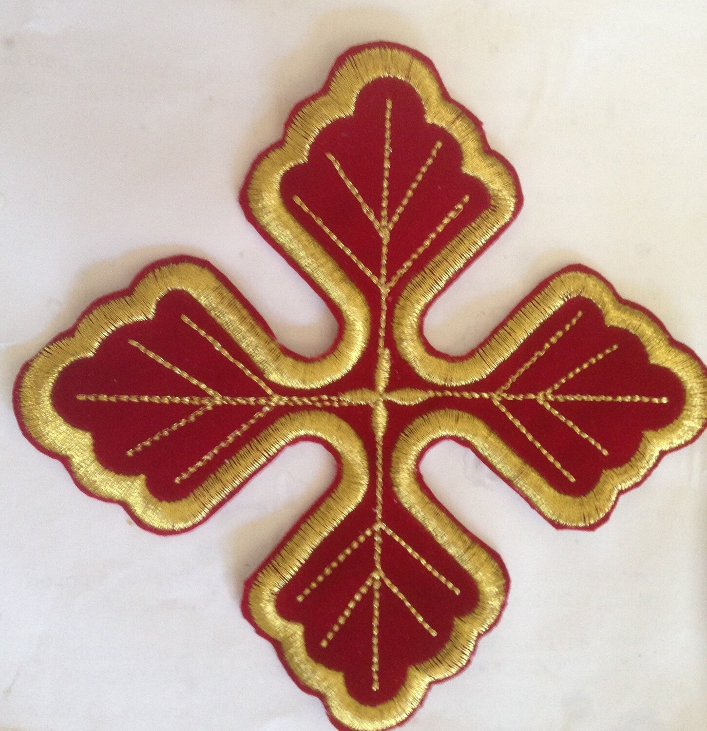 Stitches embroidery cross design on velvet size 4 inches