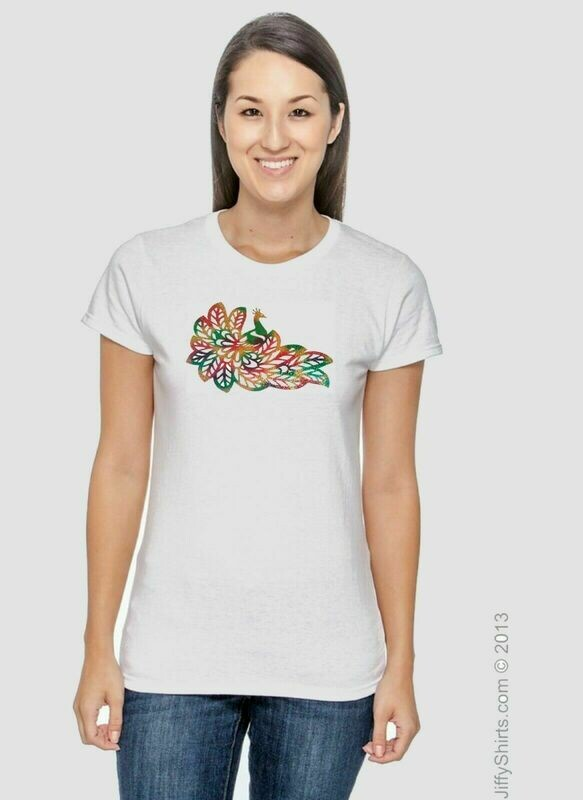 Ladies and Girls T-Shirt with with Peacock Rainbow Colors Design on front