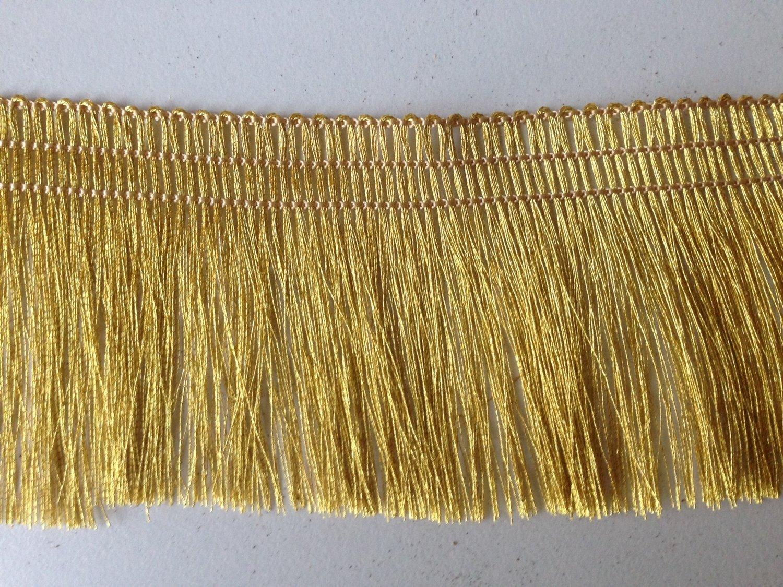 "100% Gold Metallic Yarn Fringe Tape Trim 2"" Wide by Yard"