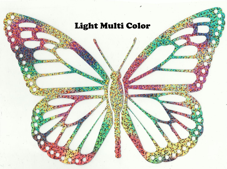Hologram Metallic Multi Color Butterfly Design Heat Transfer Vinyl ready to put on T-Shirt