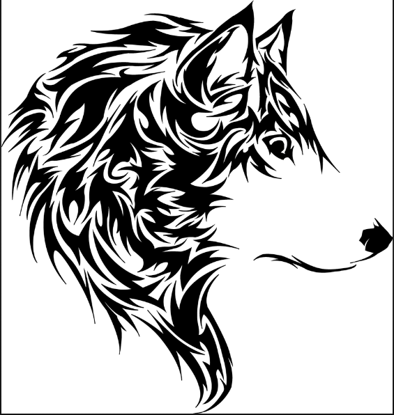 Wolf Design Heat Transfer Vinyl ready to put on T-Shirt many colors
